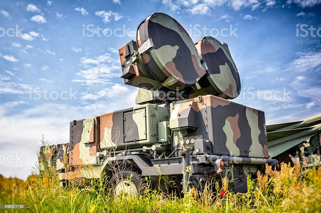 Military radar on the airfield stock photo