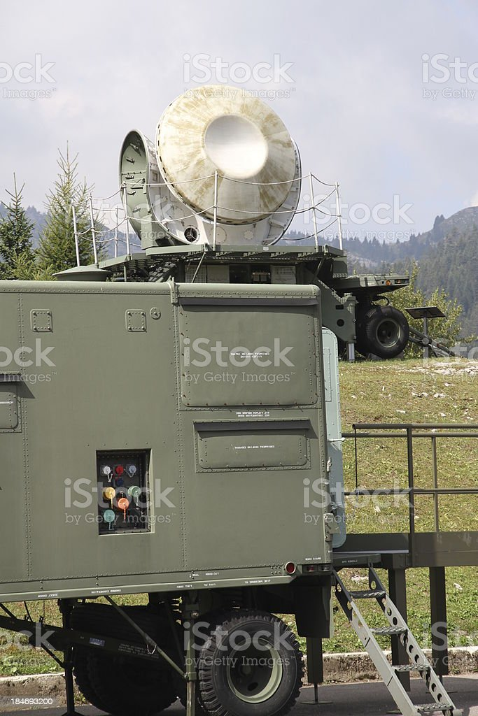 military radar to search for enemy airplane stock photo
