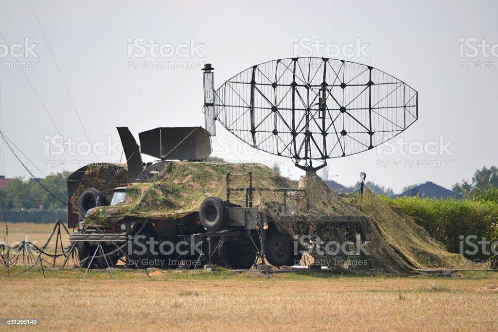 Military radar, truck stock photo