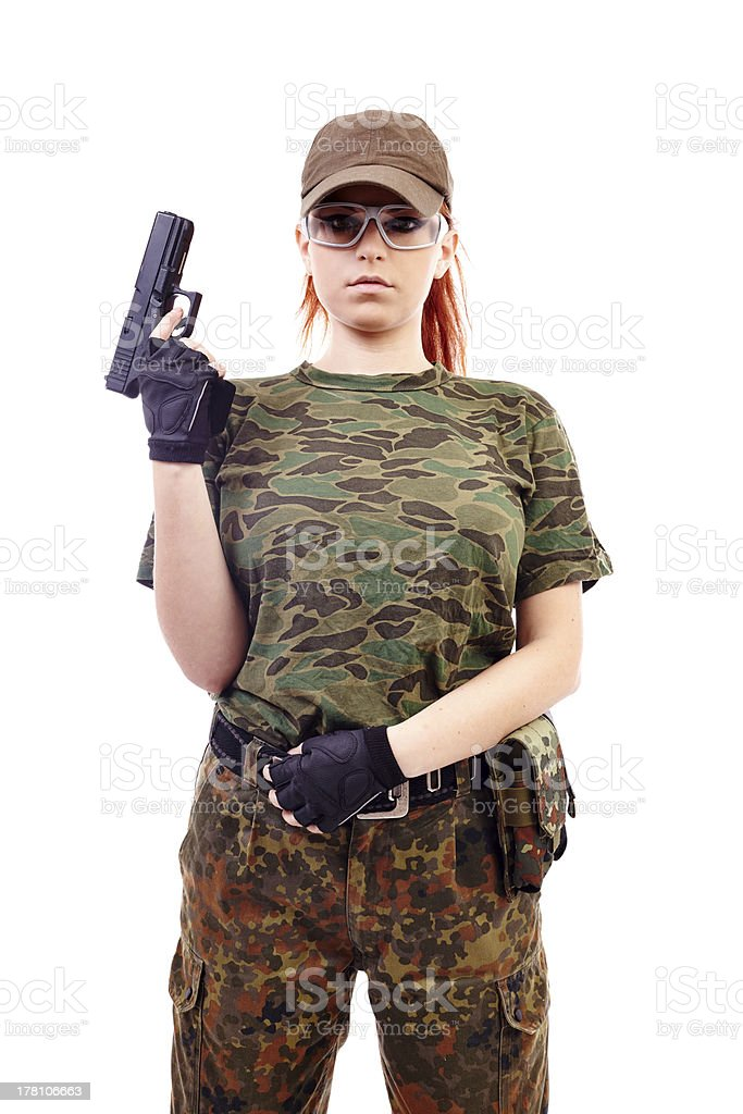 Military redhead beautiful young lady royalty-free stock photo