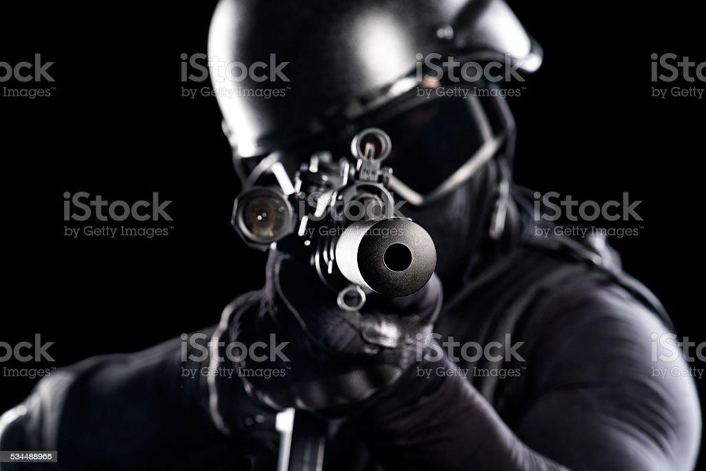 Military rifle aiming stock photo