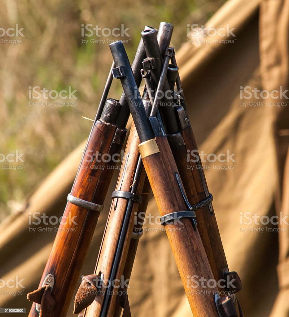 Military rifles of World War II stock photo