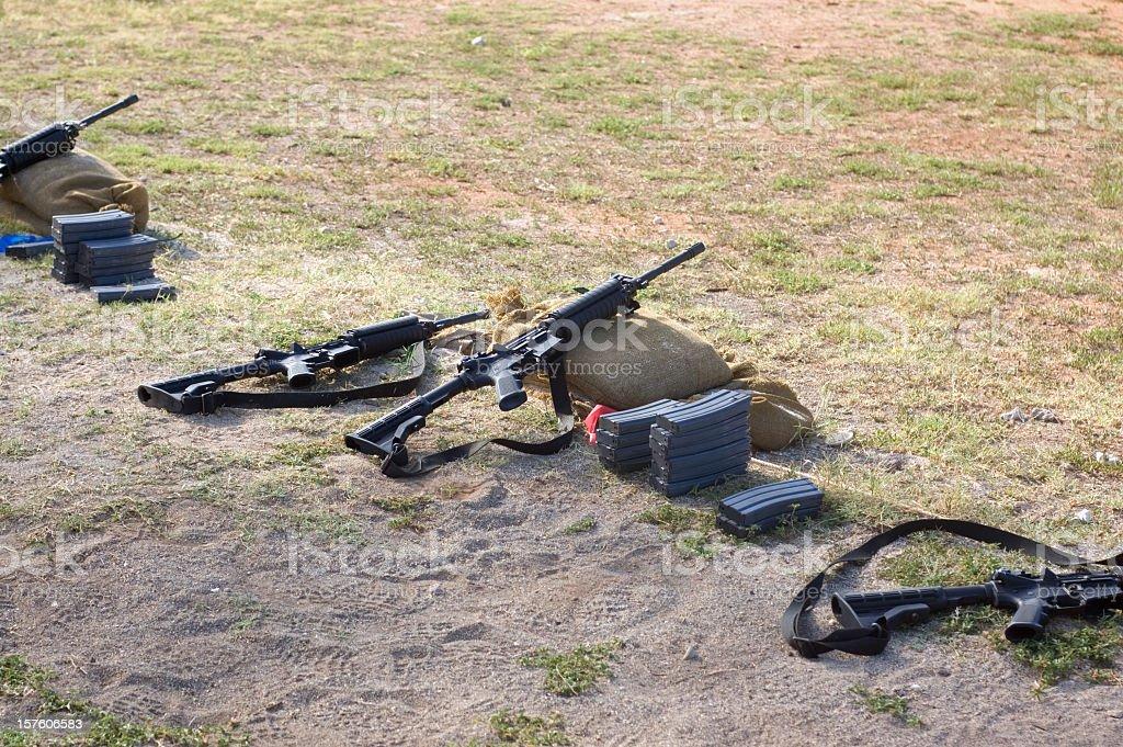 U.S. Military Rifles On Range stock photo