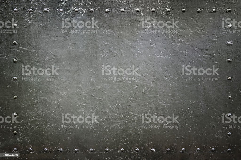 military riveted metal plate 3 stock photo
