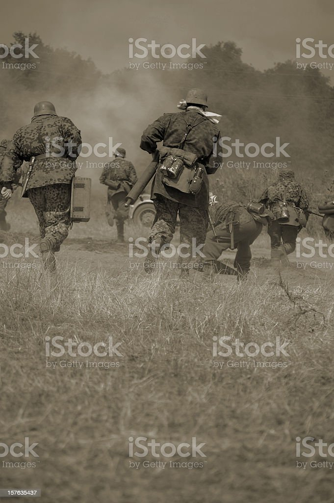 Military running in sepia tones royalty-free stock photo