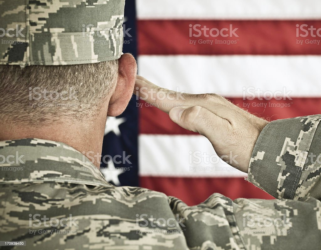 Military Salute Horizontal in Newest Uniform stock photo