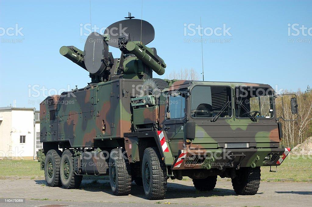 Military satellite communications truckers stock photo