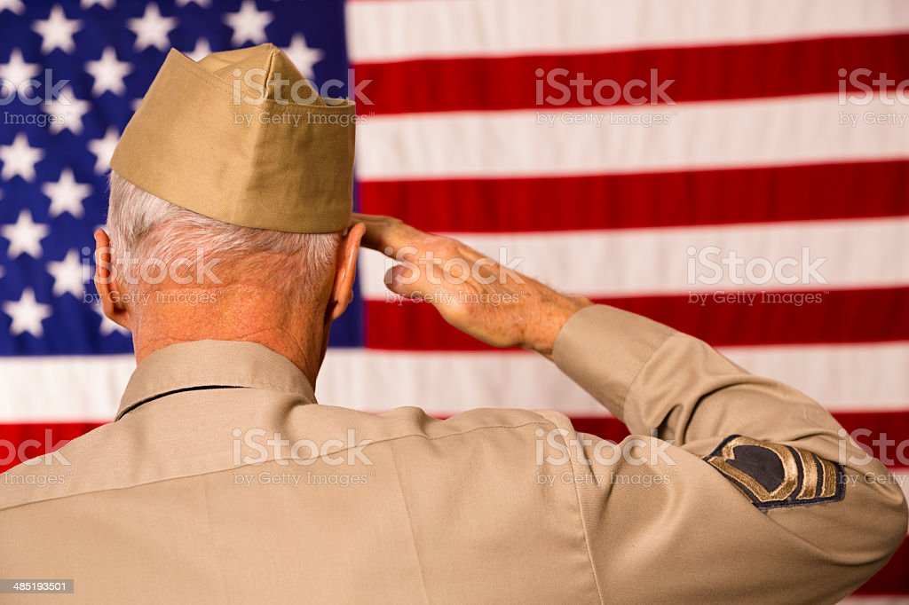 Military: Senior veteran in uniform saluting American flag. stock photo