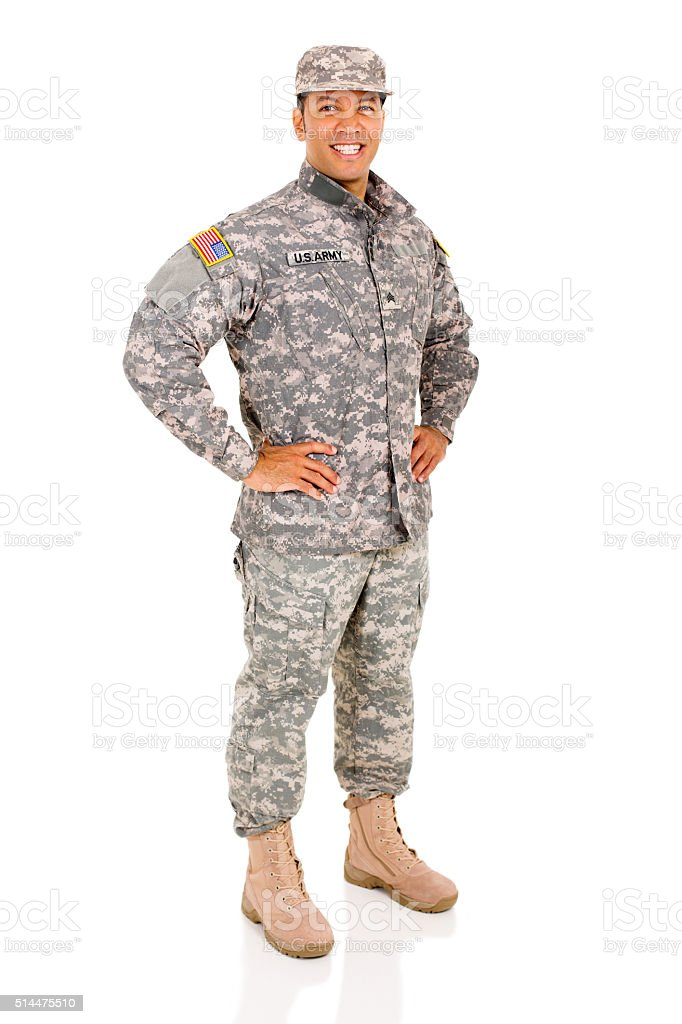 military serviceman posing stock photo