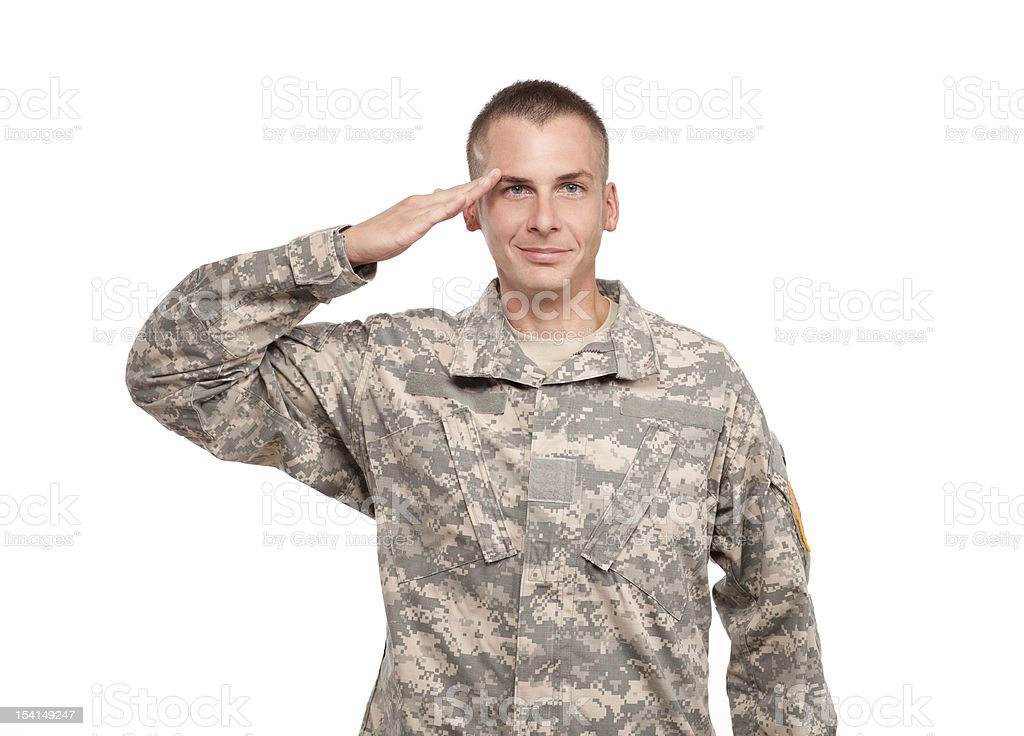 Military Serviceman Salutes stock photo