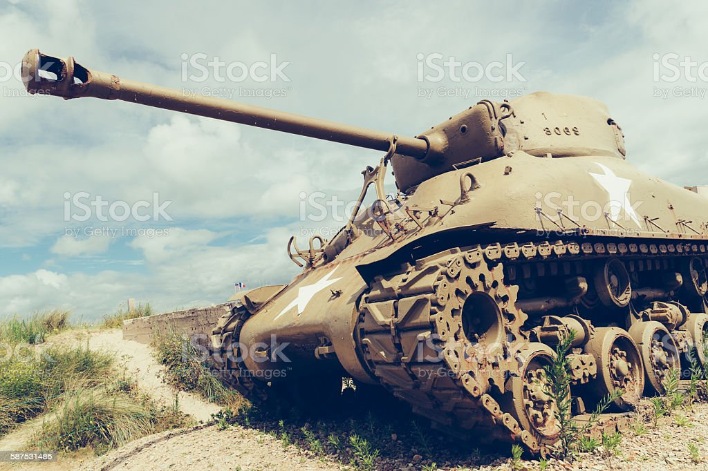 US Military Sherman tank stock photo
