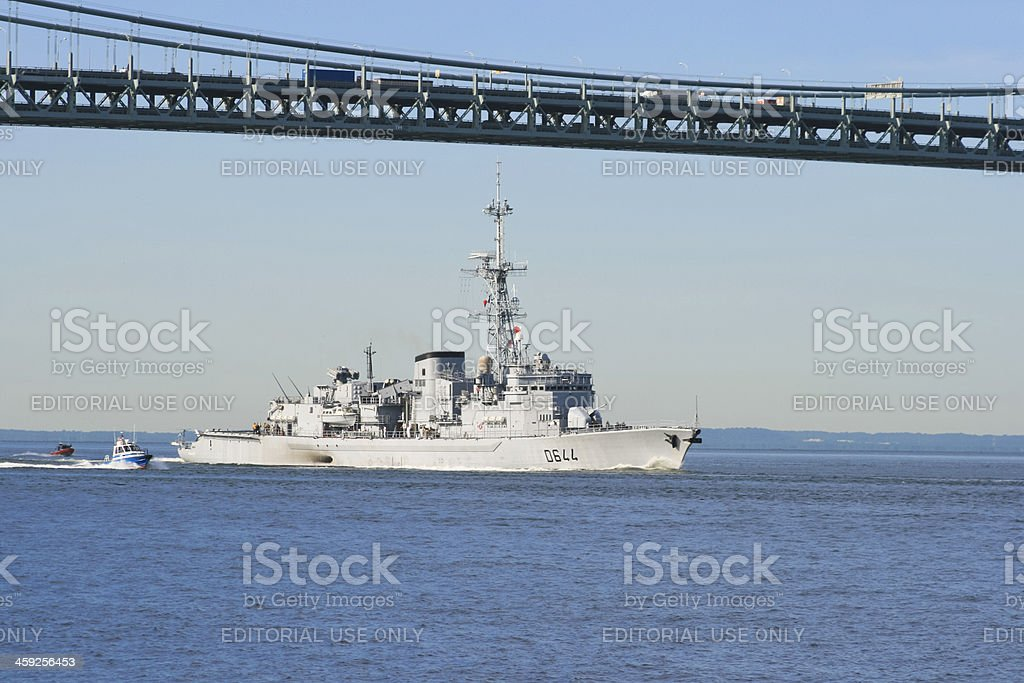 Military Ship under French flag entering New York Harbor. royalty-free stock photo