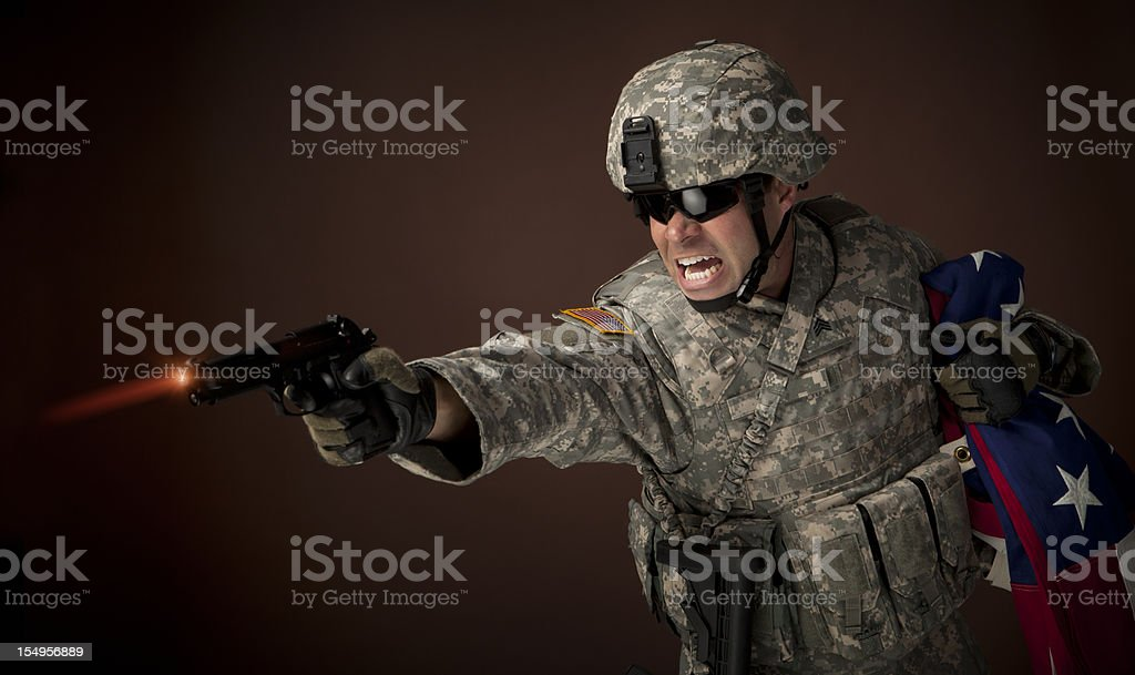 Military soldier defending freedom stock photo