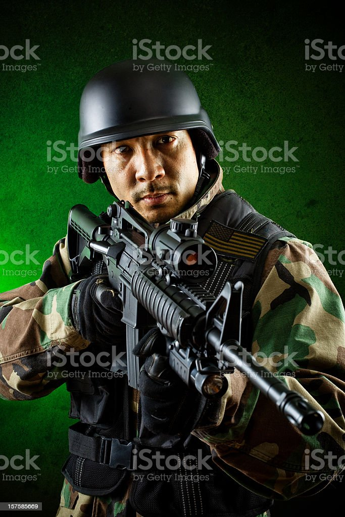 military soldier on the hunt royalty-free stock photo