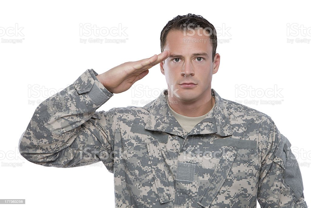 Military Soldier Salutes stock photo