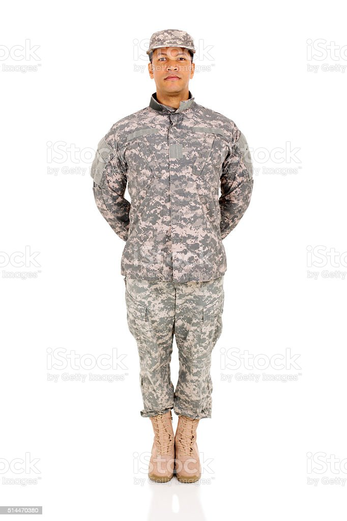 military soldier standing stock photo