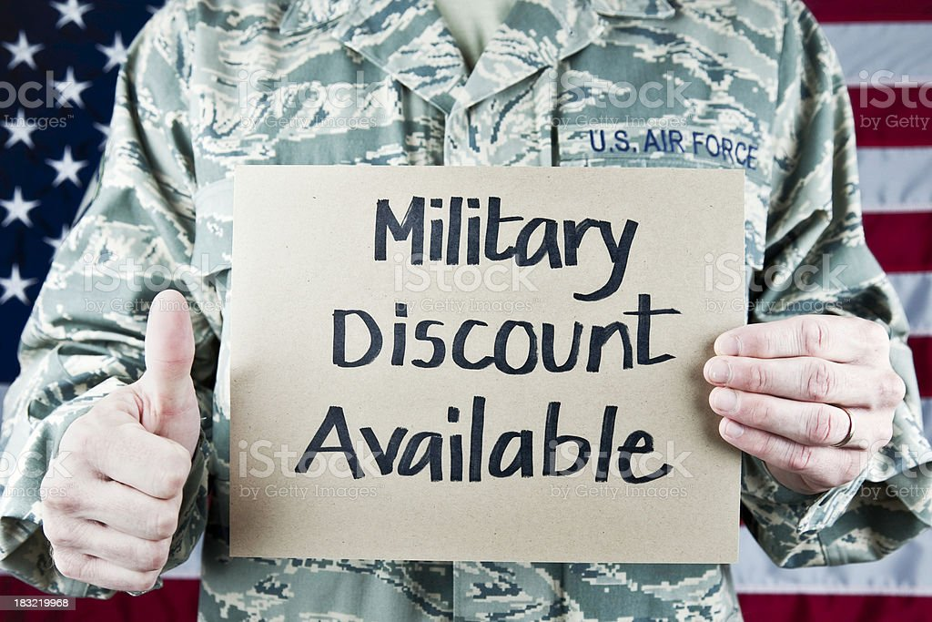 Military Soldier with Sign stock photo