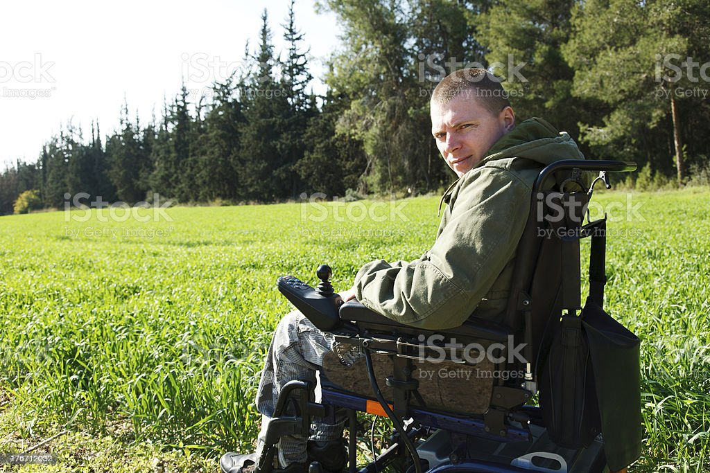 Military soldiers in Wheel-chair. stock photo
