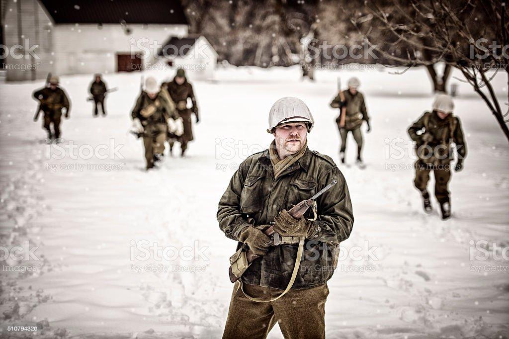 WWII US Military Squadron On Patrol stock photo