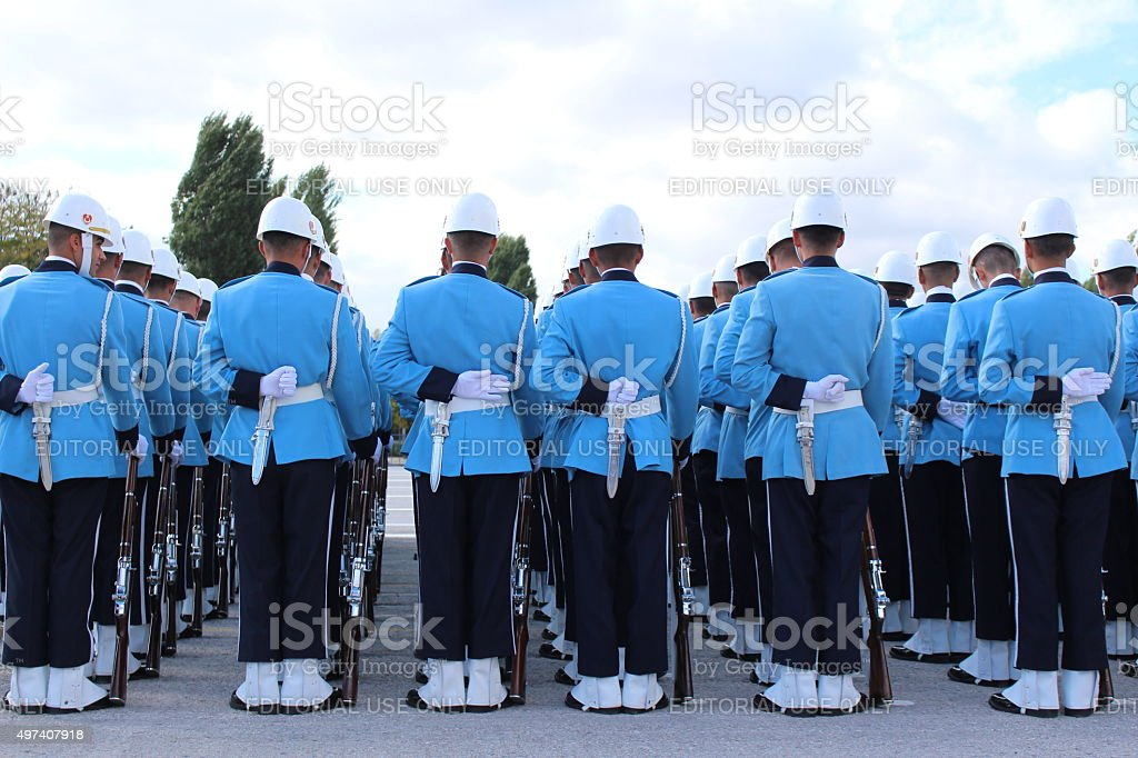 Military Students with blue uniform stock photo