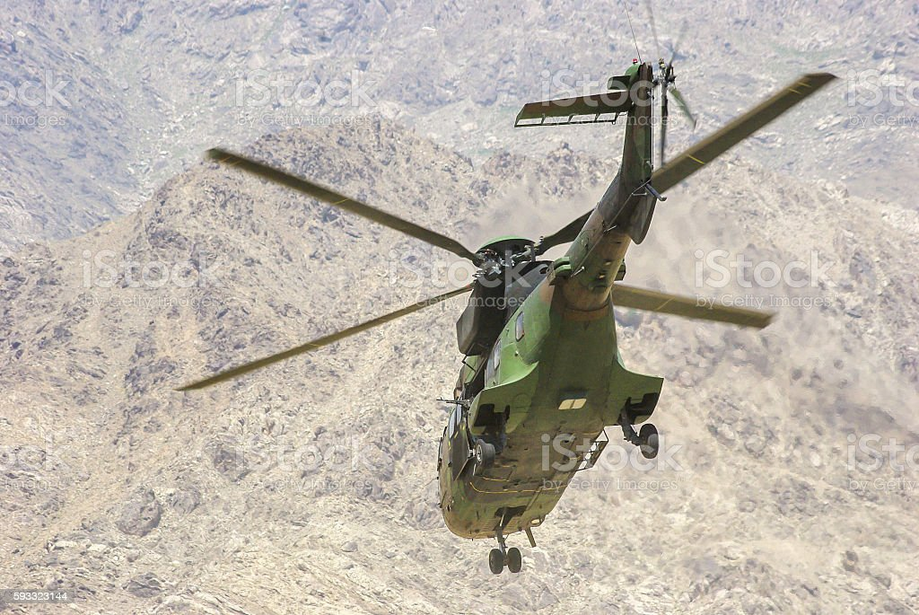 Military super puma helicopter stock photo