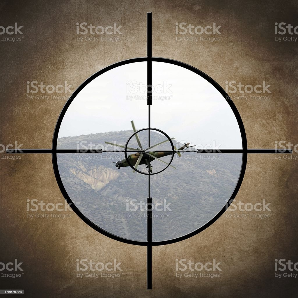 Military target on helicopter stock photo