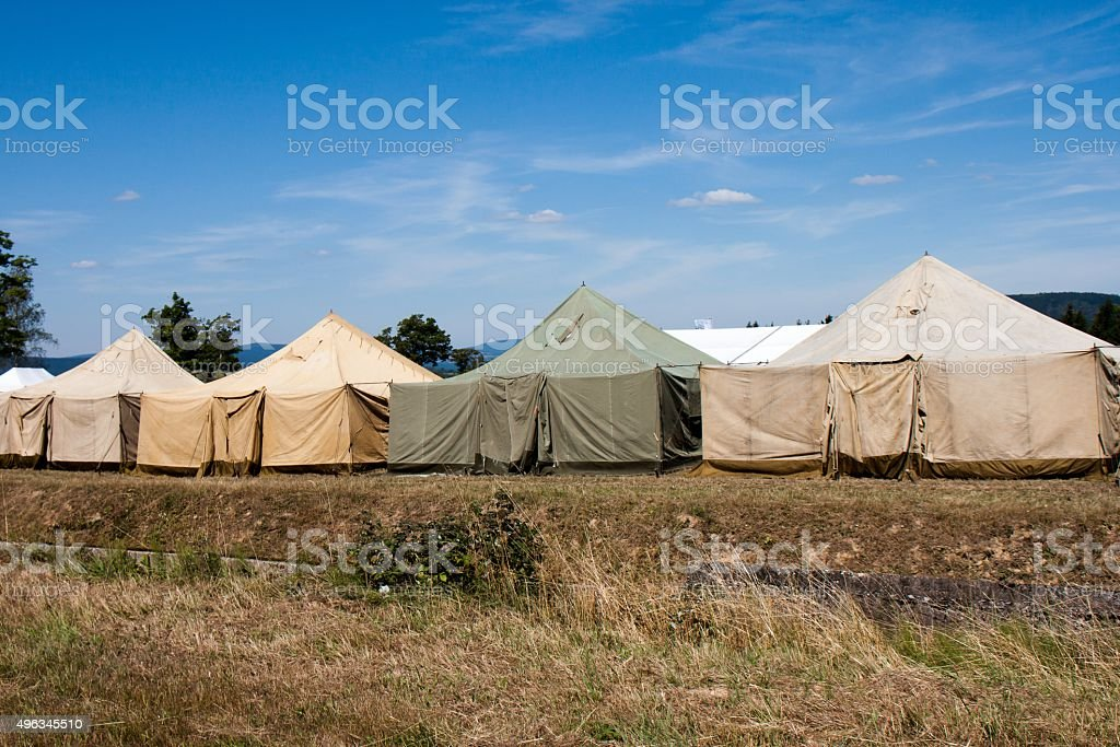 Military tent camp stock photo