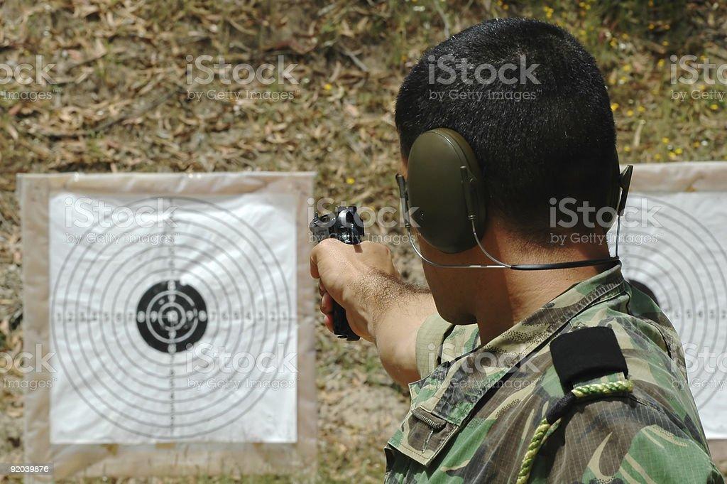 Military training combat - pistol shoot royalty-free stock photo
