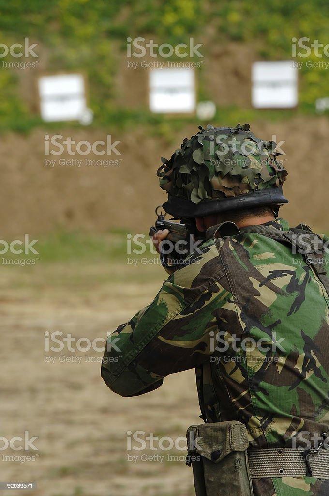 Military training combat - rifle shoot royalty-free stock photo