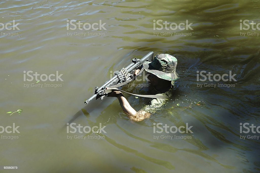 Military training combat - water environment stock photo