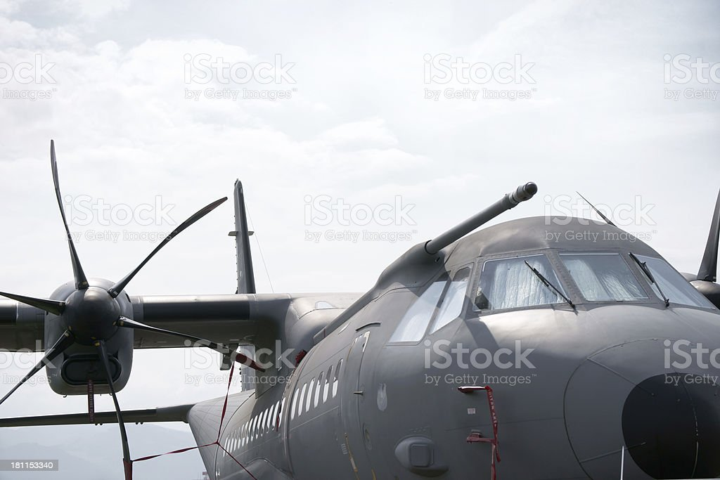 Military transport aircraft close-up royalty-free stock photo