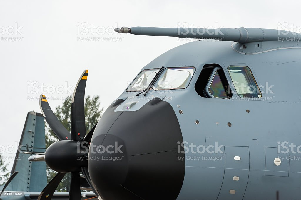 Military transport aircraft stock photo