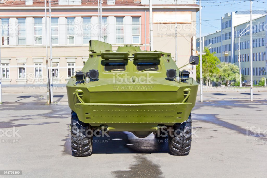 Military transport at the exhibition stock photo