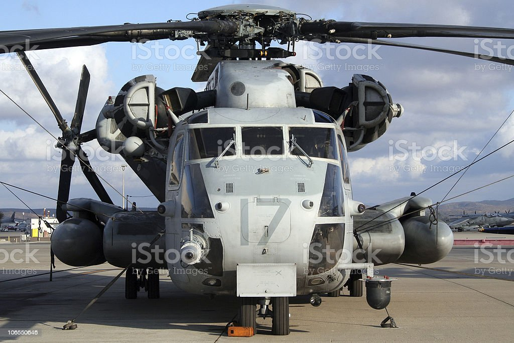 Military transport helicopter stock photo