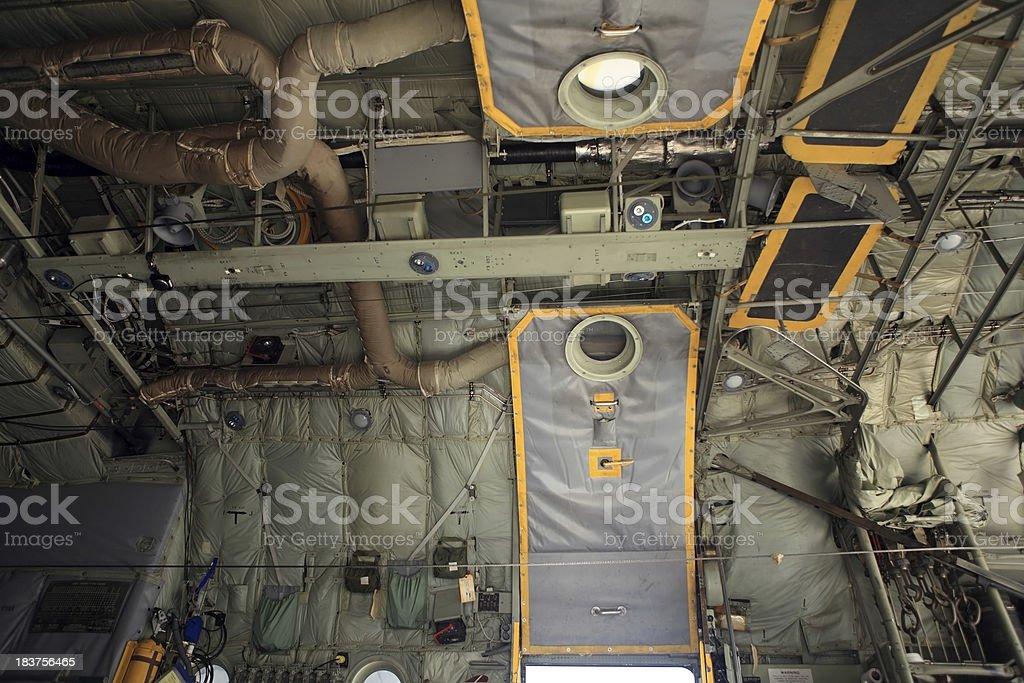 Military Transport Plane Interior royalty-free stock photo