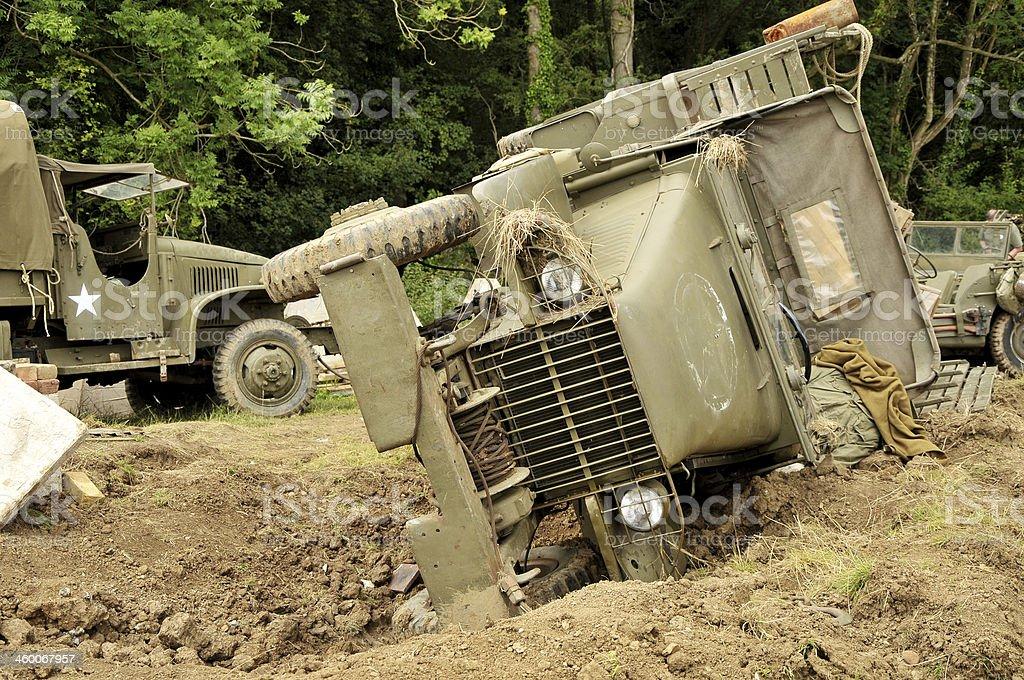 WW2 US Military Trucks On Battlefield royalty-free stock photo