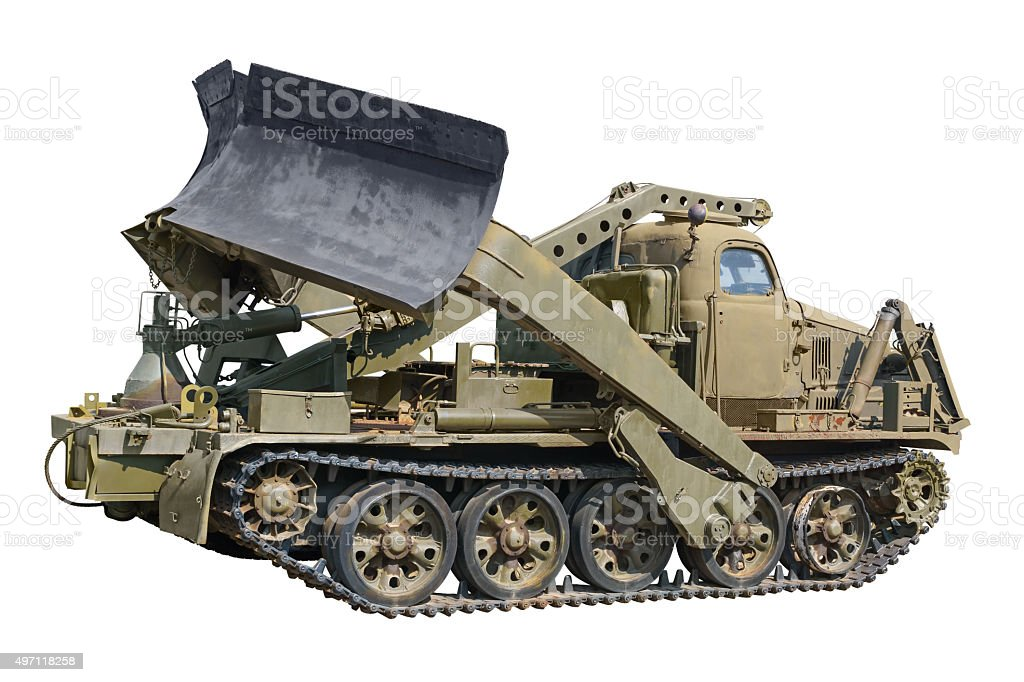 Military vehicle for build roads stock photo