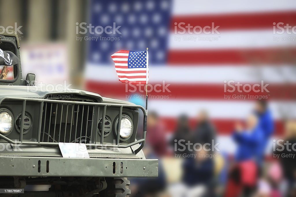 WWII Military Vehicle in Parade stock photo