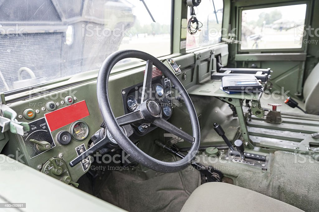 Military vehicle interior stock photo