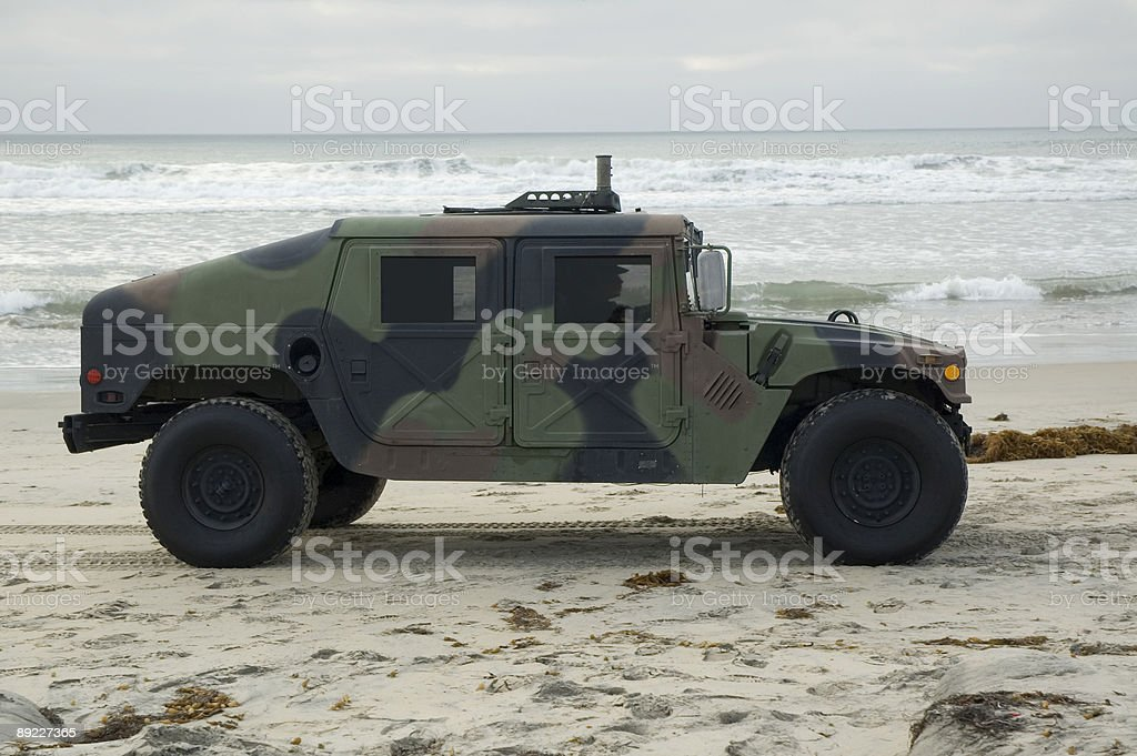 Military Vehicle on the Beach stock photo