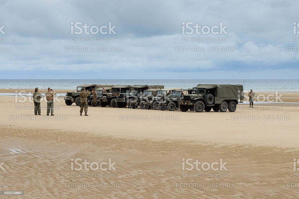 Military vehicles at Omaha Beach for D-day anniversary commemora stock photo