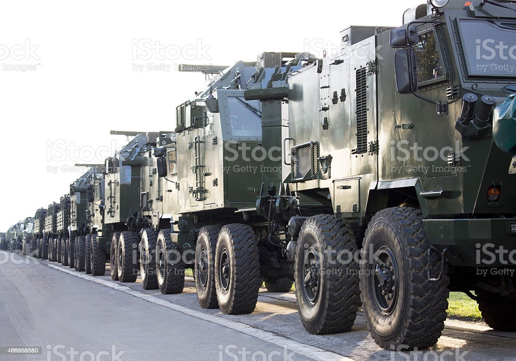 military vehicles in a row stock photo