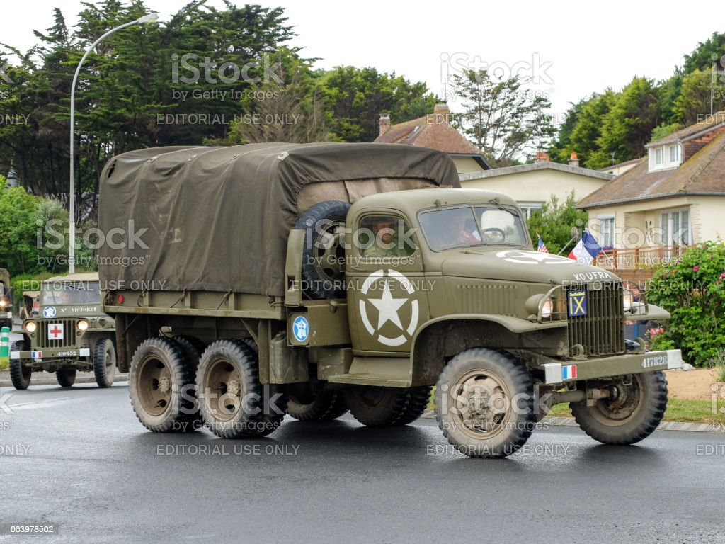 Military vehicles in Normandy for D-day debarquement celebrations stock photo