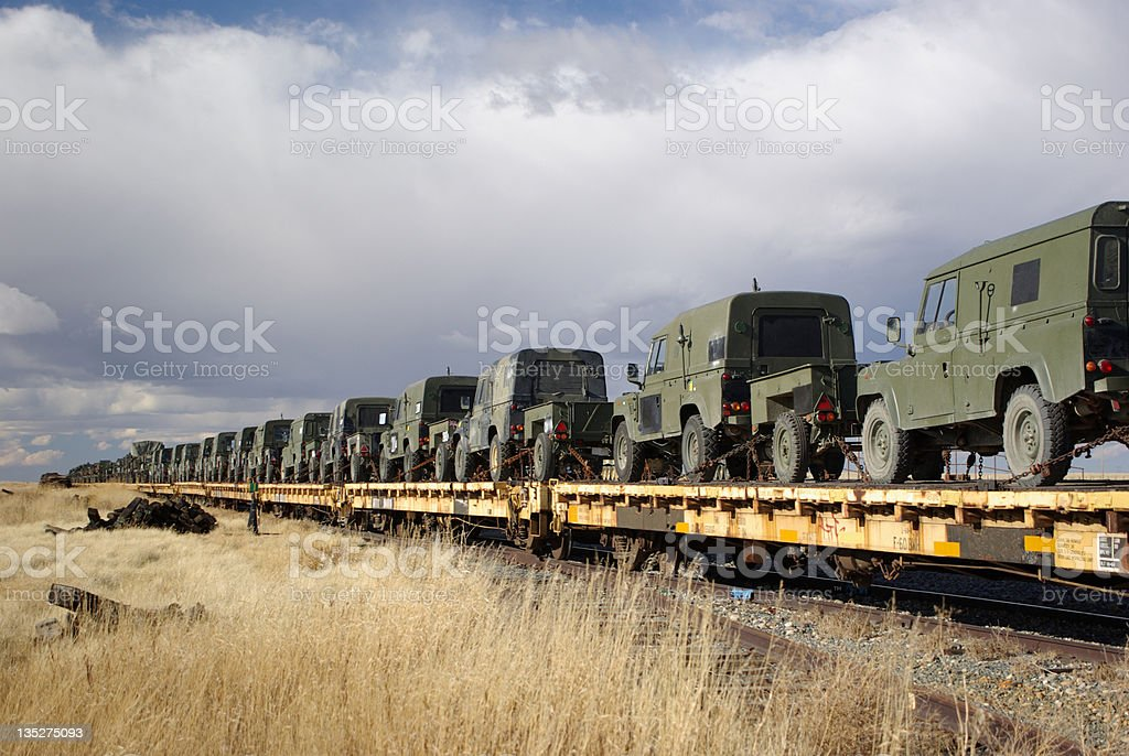 Military vehicles on rails royalty-free stock photo