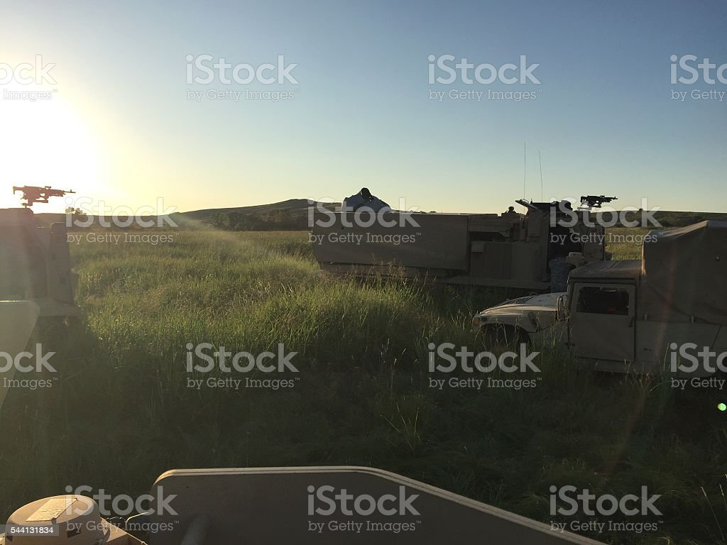 Military Vehicles on the Plains stock photo