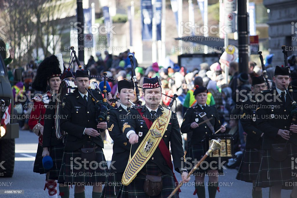 military veteran band at st. patrick's day parade, vancouver, bc royalty-free stock photo