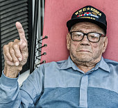 WWII USA Military Veteran Number One Index Finger Hand Gesture