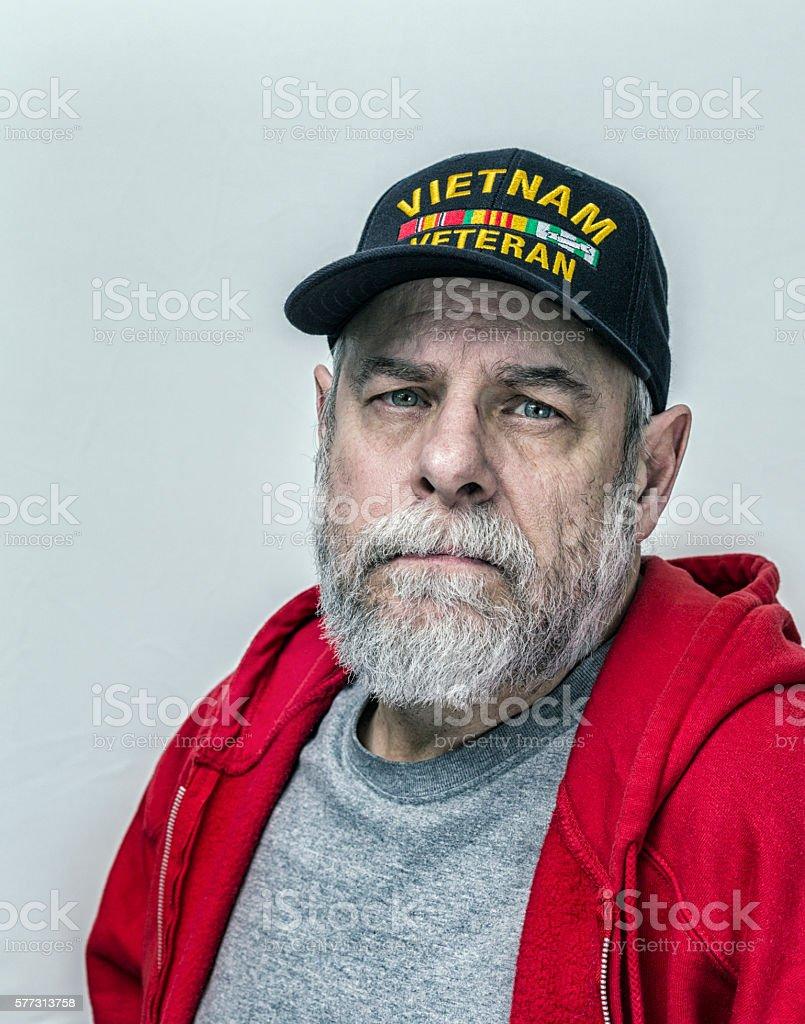 USA Military Vietnam War Veteran Melancholy Portrait stock photo