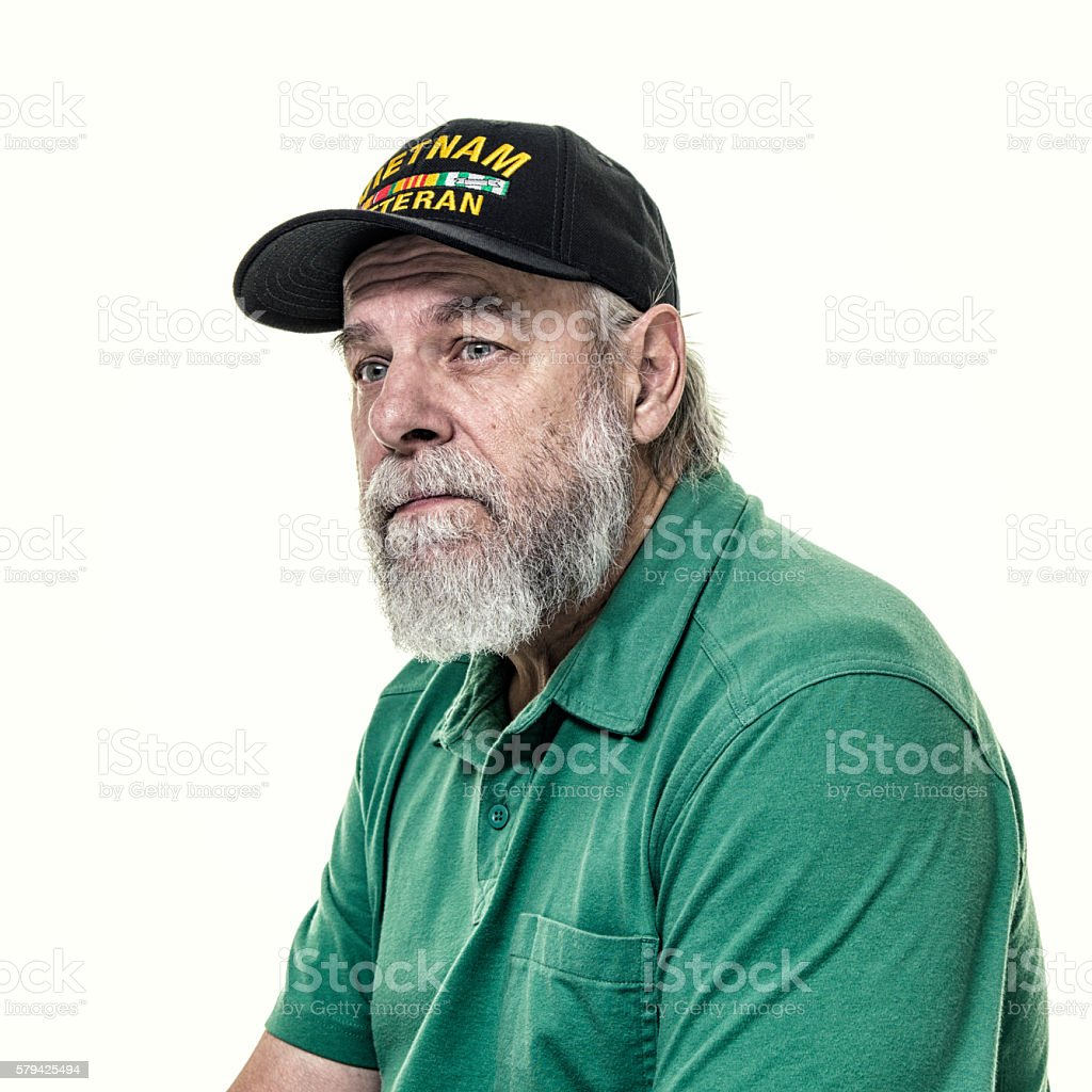 USA Military Vietnam War Veteran Pensive Melancholy Portrait stock photo