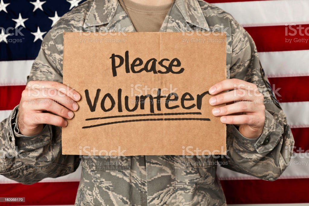 Military Volunteers Wanted royalty-free stock photo